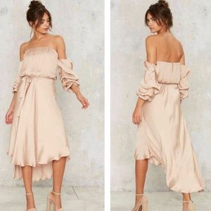 Bardot Satin Midi Dress